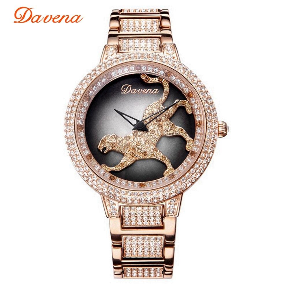 Femmes de luxe Bling strass filature léopard montres femmes mode à la mode montre à Quartz or Rose argent dames horloge cadeau