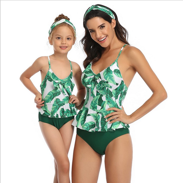 Oeak 2020 Summer Family Matching Outfits Swimwear Mother Daughter Floral Print Swimsuit Bikini Suit Flounce Design Beachwear