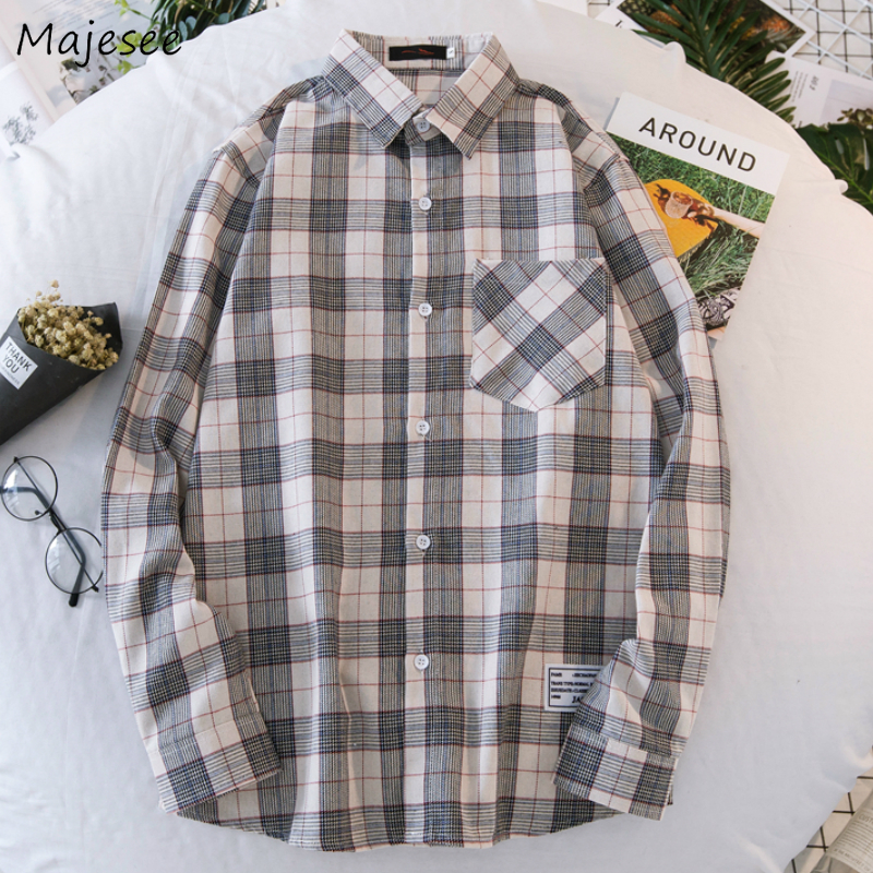 Men Shirts Plaid Ins Chic Trendy Long Sleeve All-match Daily Outwear Plus Size 3XL Mens Loose Korean Style Simple Ulzzang New