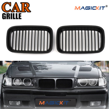 MagicKit For 92-96 BMW 3-Series E36 Cabrio Coupe M3 Front Kidney Grille Grill Matte Black image
