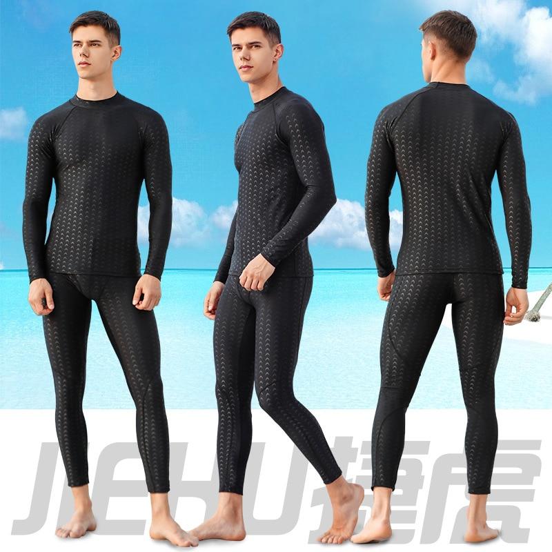Jie Hu Tour Bathing Suit MEN'S Swimsuit Two-Piece Set Quick-Dry Anti-Spillage Solid Color MEN'S Swimwear