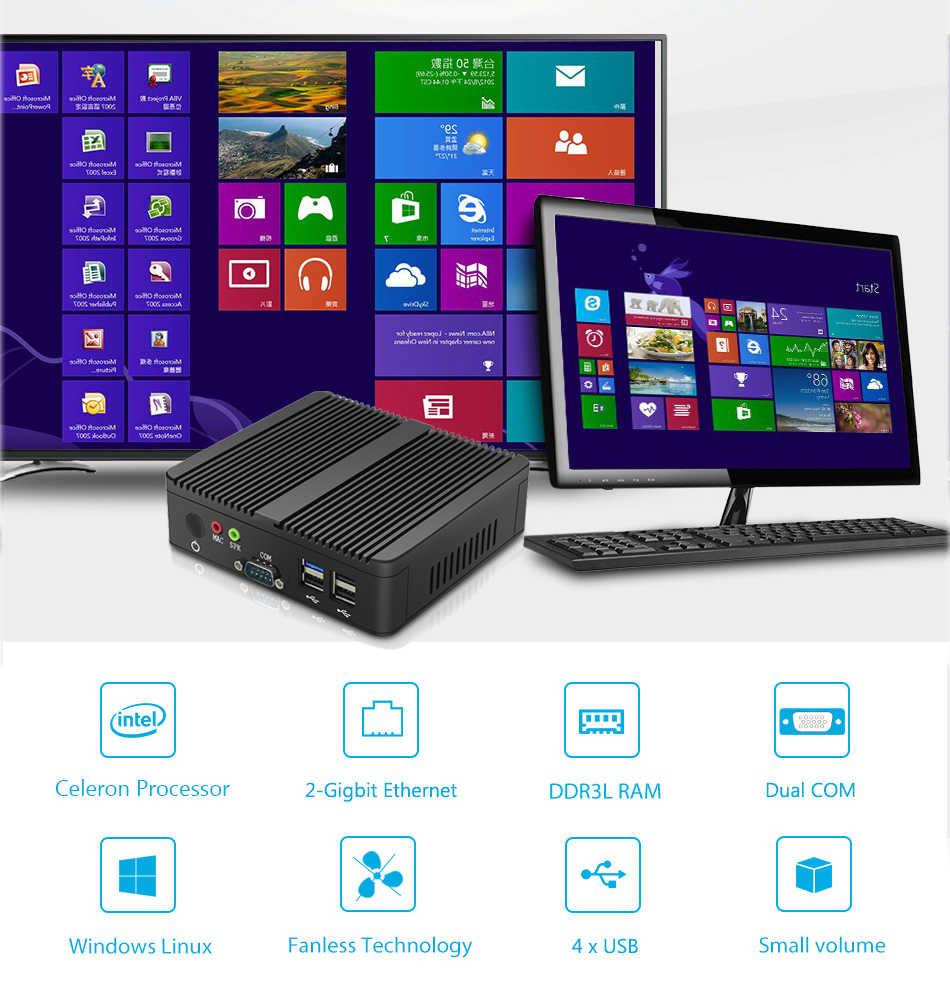 XCY bez wentylatora Mini komputer Intel Celeron j1900 Win Windows 10 7 Linux cienki klient Minipc Pfsense Micro 2 Port Lan komputery stacjonarne