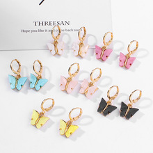 2020 Fashion Candy Color Acrylic Butterfly Stud Earrings Women Animal Sweet Colo
