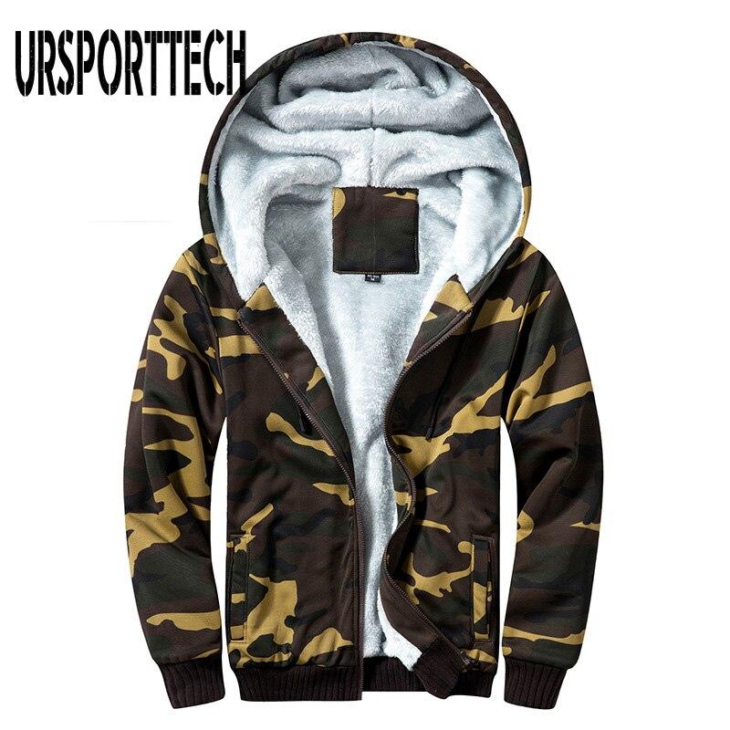 Camo Parka Men Winter Hooded Jackets Printed Hoody Male Camouflage Coats SportsWear Zipper Fleece Hoodies Men Sweatshirts M-5XL