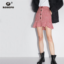ROHOPO Front Button Fly Ruffles Houndstooth Jersey Mini Flared Skirt Autumn New Cotton Bottom #2260