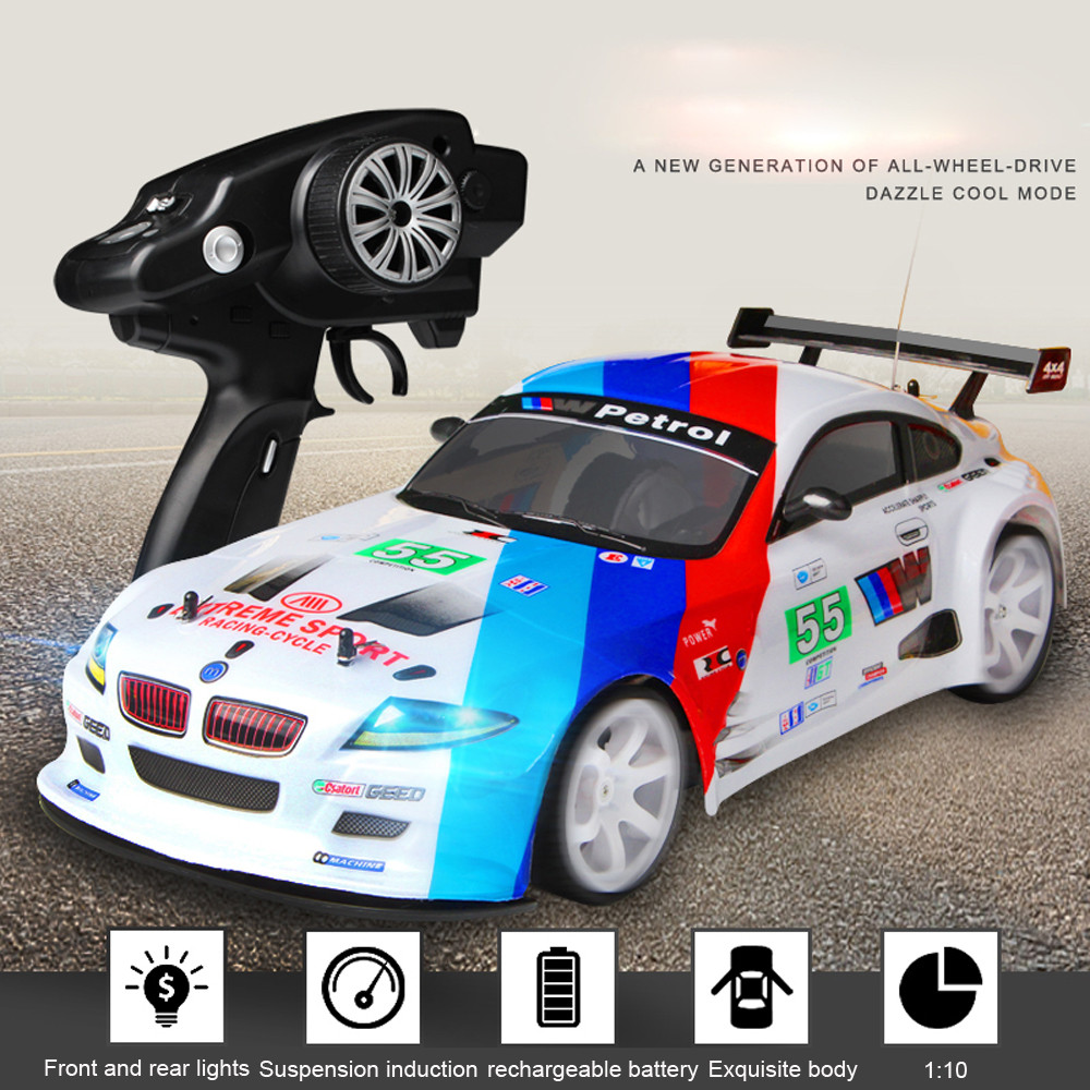 HIINST 1:10 70km/h 2.4G RC Car Drift Racing Car Championship 4WD Double Battery LED Headligh Off Road Radio RC Vehicle