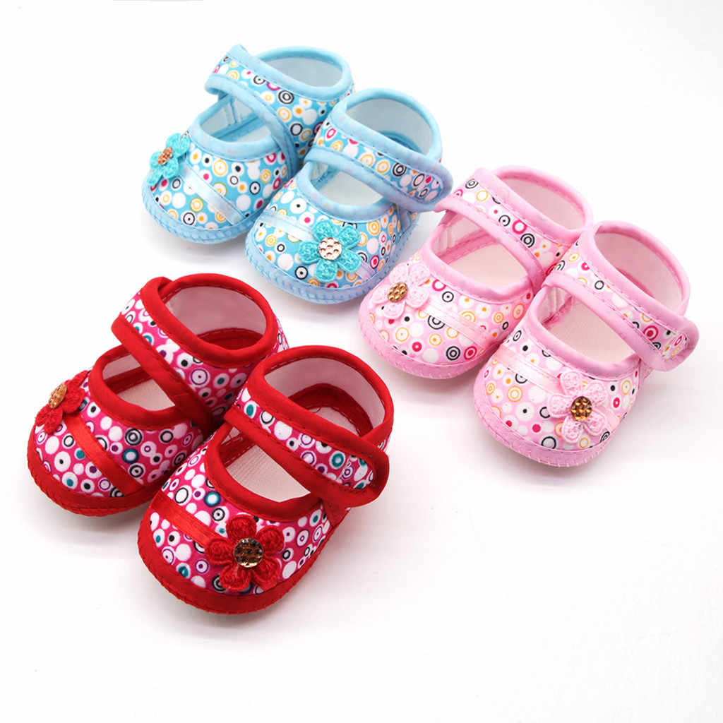 Newborn Baby Girls Printing Flower Prewalker Soft Sole  First Single Shoes Toddler Zapatos Baby Boy Shoes Sneakers 2020 Summer