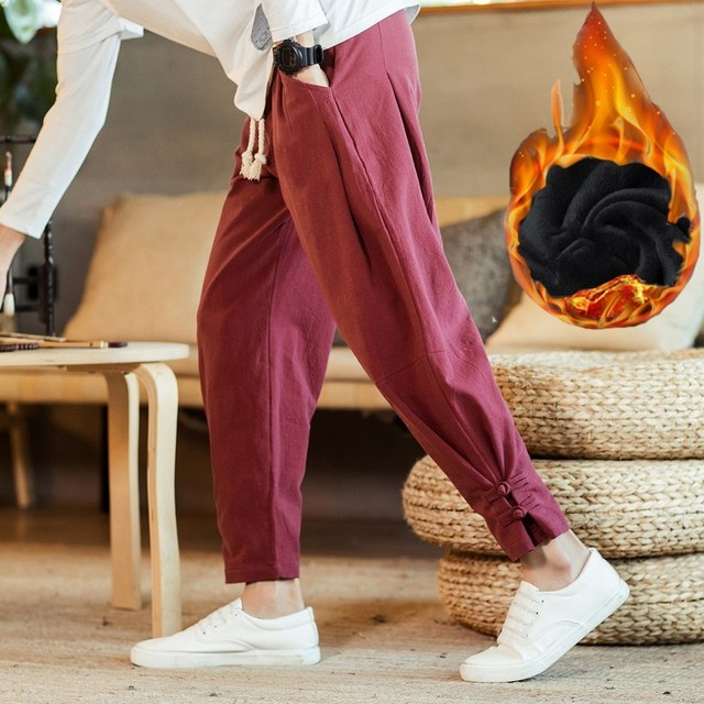 110 KG Soft Solid Gray Joggers Men Sweatpants Chinese Style Mens Trousers Large Size Thick Harem For Big Man Flare Pants 4