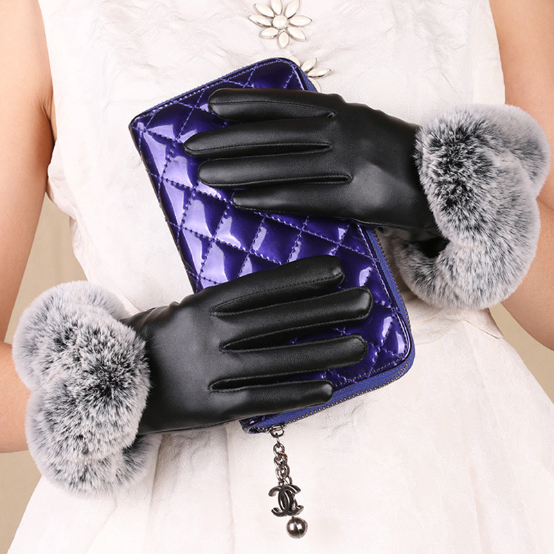 Autumn And Winter New Ladies PU Leather Touch Screen Gloves Plus Velvet Warm Breathable Rabbit Fur Gloves