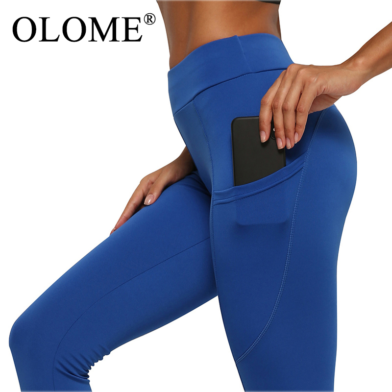 Pocket solid Sport   Leggings   Women High Waist Mesh Workout Fitness   Leggings   Training Running Pants Sportswear Women