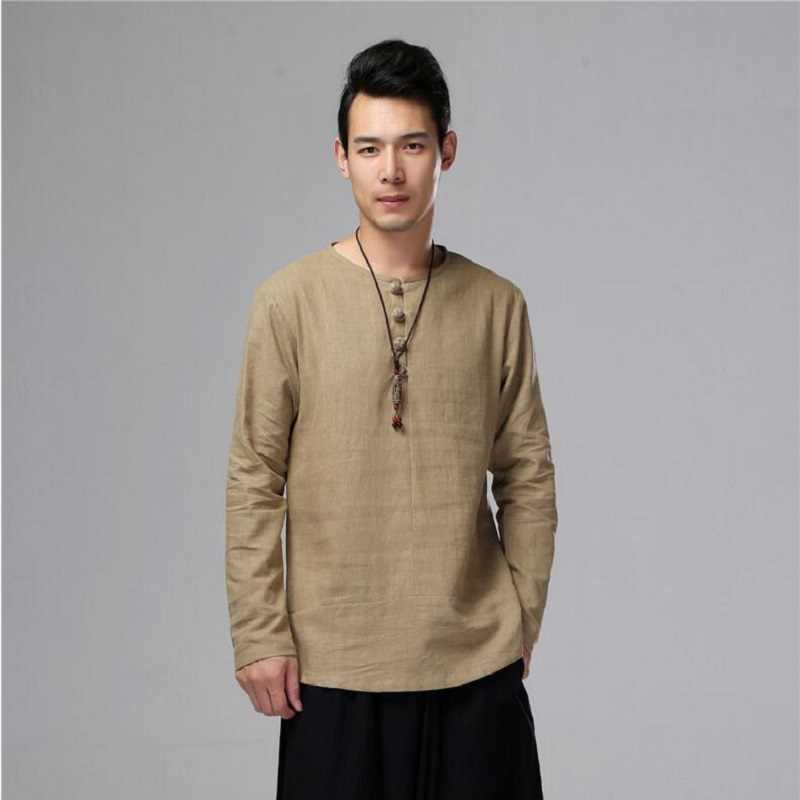 Mannen Linnen Shirts lange mouw Chinese Stijl Traditionele Kung Fu Tang Casual Sociale Onregelmatige Shirt Comfortabele Kleding SY0003