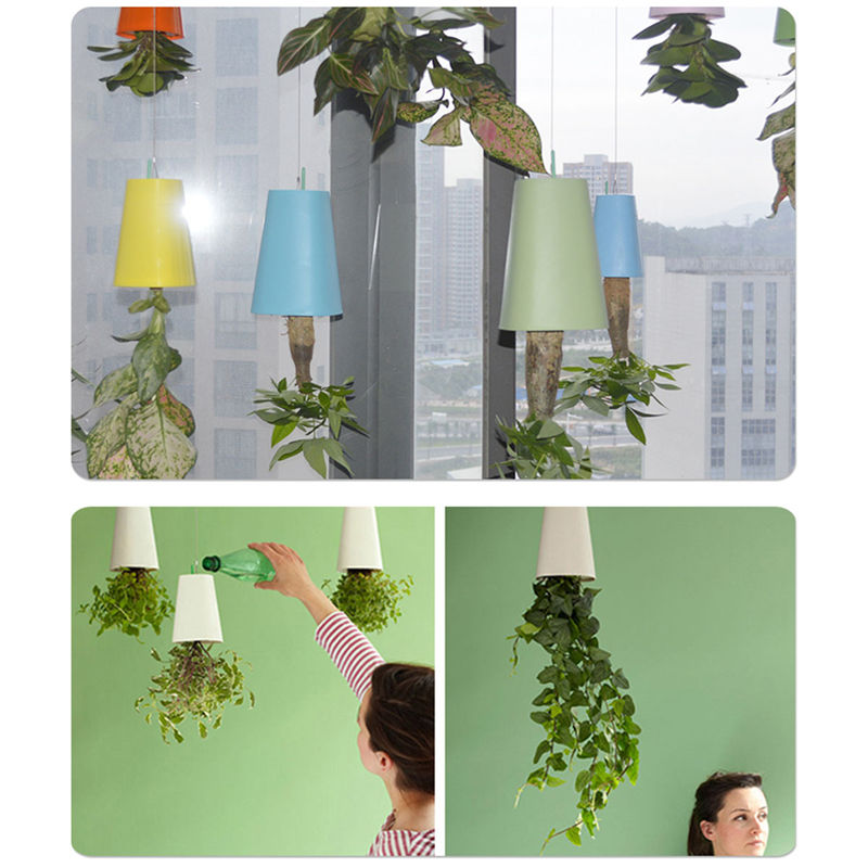 Large Plastic Sky Hanging Planter Decorative Upside-Down Plant Flower Pot Planter For Indoor Garden Decoration