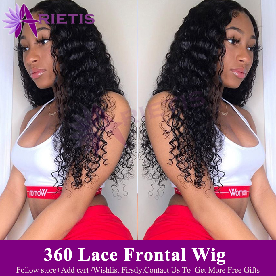 360 Lace Frontal Wig Deep Wave Lace Front Human Hair Wigs Pre-pluck With Baby Hair For Black Women Arietis Remy Brazilian Hair
