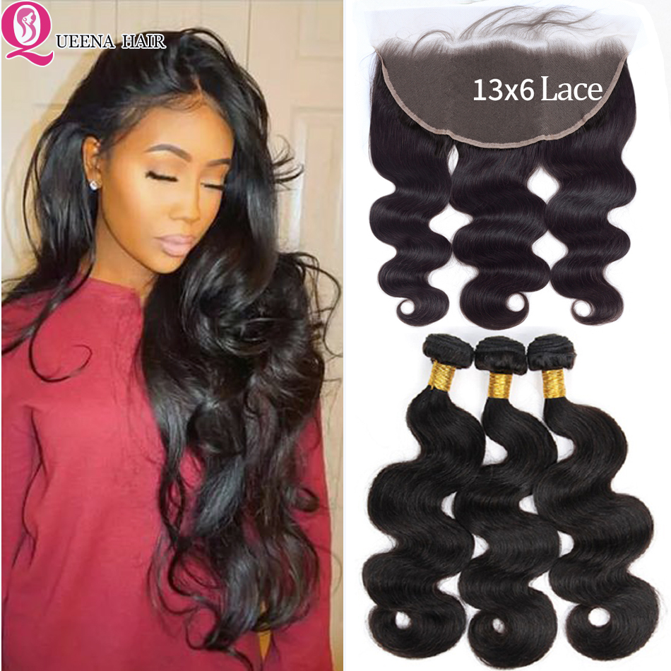 Queena Hair 13x6 Frontal With Bundles Brazilian Human Hair Body Wave Bundles With Lace Closure Ear To Ear Remy Hair Extension
