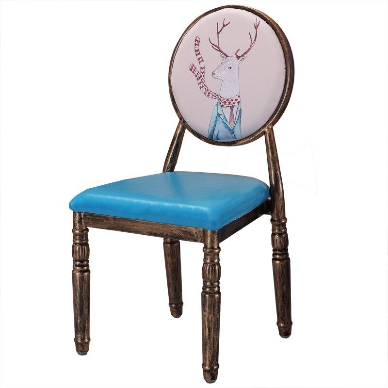 European Retro Chair, Modern Simple Creative Dining Chair, Iron Art, American Makeup Chair, Manicure Shop, Stool, Back Chair