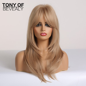 Image 4 - Długie faliste warstwowe brązowe do blond włosy typu Ombre peruki z grzywką żaroodporne peruki syntetyczne dla kobiet Afro Cosplay naturalne peruki