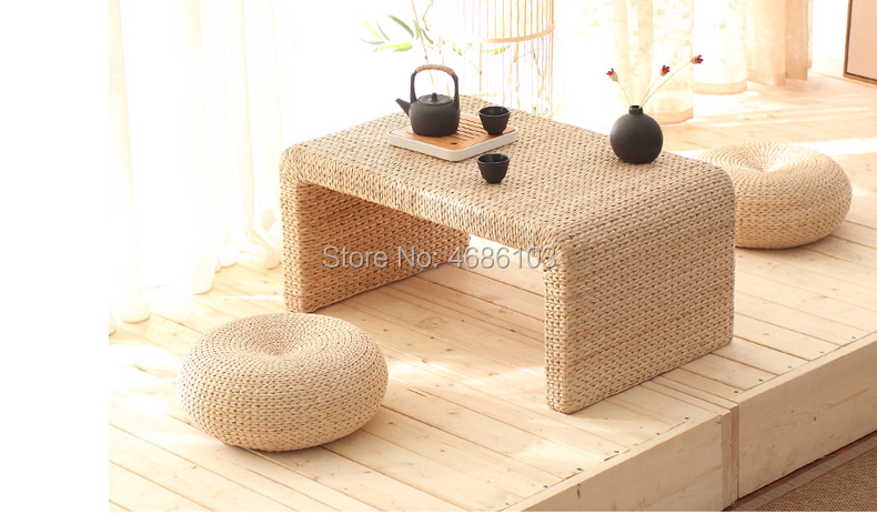Natural Handmade Straw Woven Balcony Tea Table Japanese Antique Coffee Table Tatami Room Small Tea Table For Living Room