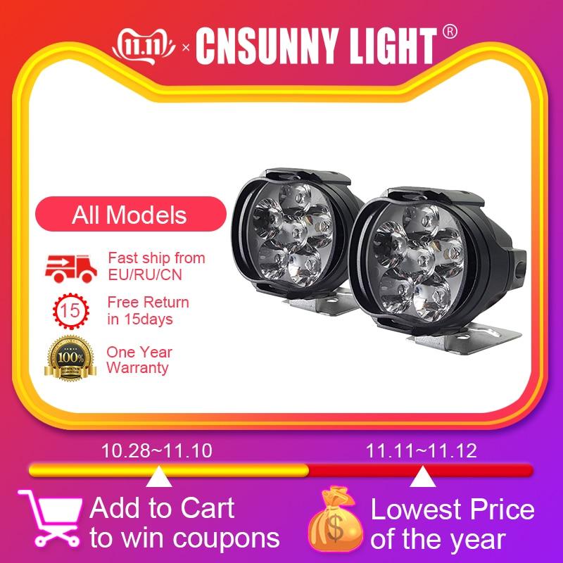 CNSUNNYLIGHT Super Bright 1000Lm Motorcycles LED Headlight Lamp Scooters Spotlight 6500K White Working Car Fog Spot Light 9-85V