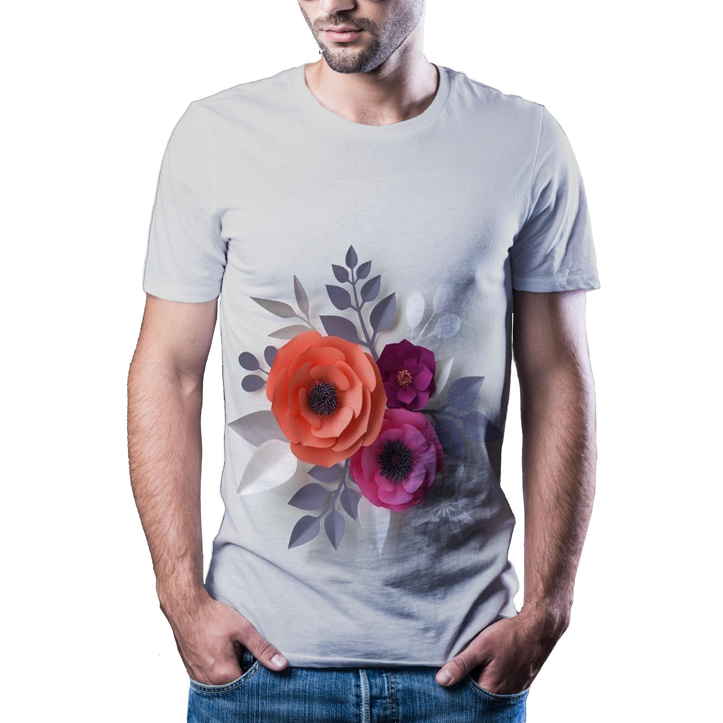 2020 scak erkek yaz yeni yuvarlak boyun ksa kollu 3D bask yksek kaliteli T-shirt spor T-shirt taze iekler boyutu t-shirt