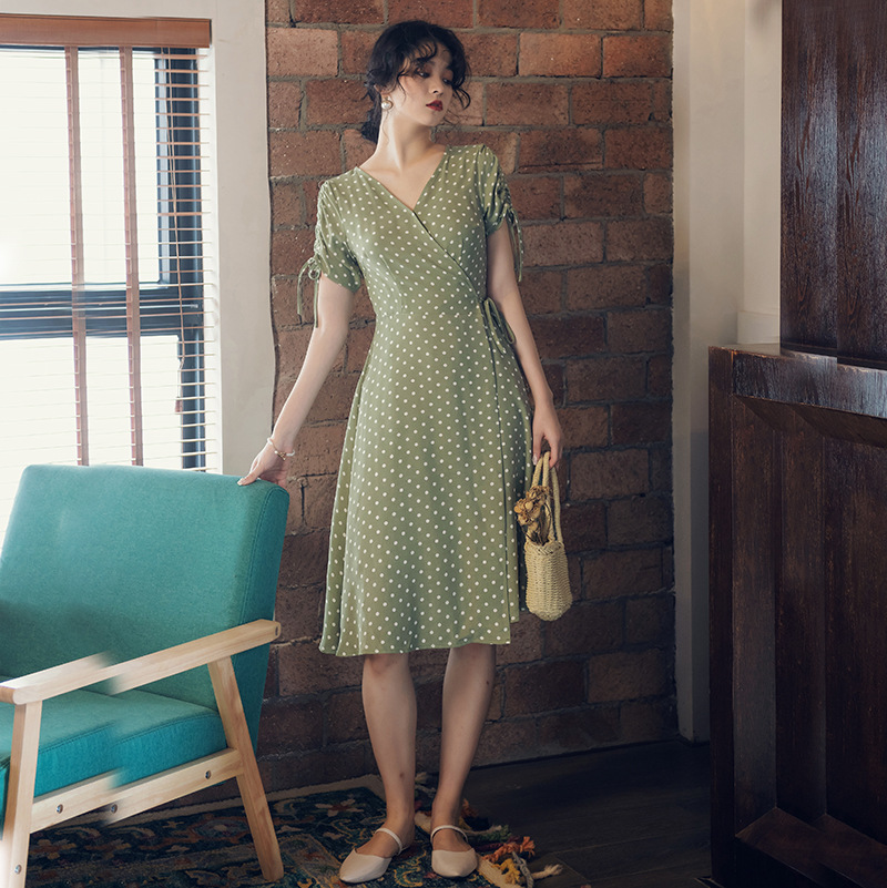 Solid French Holiday Dress Vintage Hipster Polka Dot Printed Summer Dress Women's