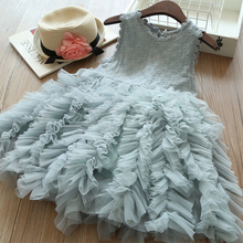 Newest Summer Girl Dress Sleeveless O-neck Fashion Cute Princess Ball Gown Mesh Little Girls Clothing Childrens Clothes