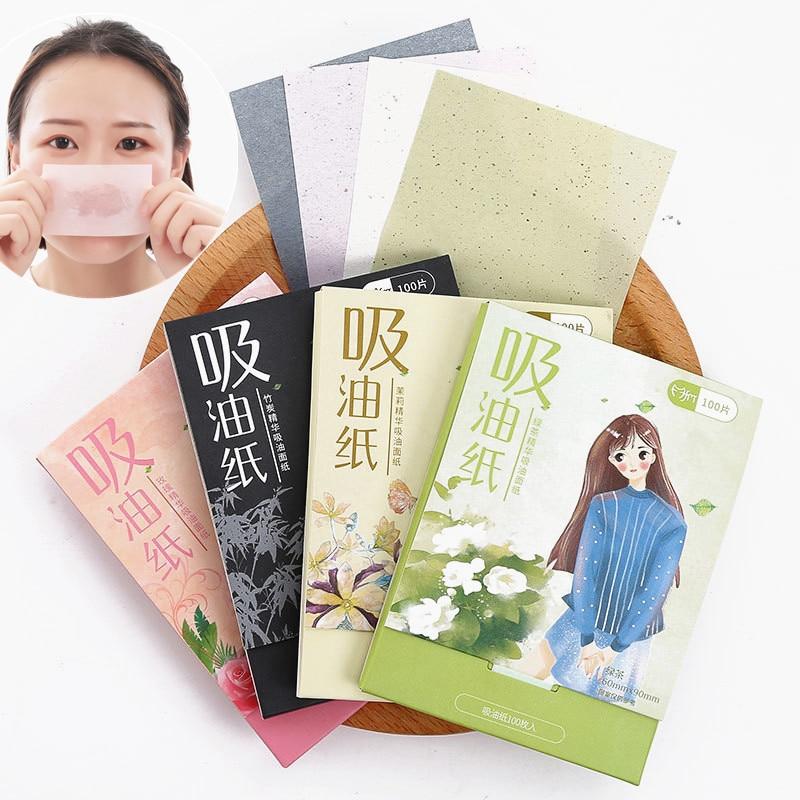 100Pcs Protable Facial Absorbent Paper Oil Control Wipes Green Tea Bamboo Charcoal Sheet Oily Face Blotting Matting Tissue