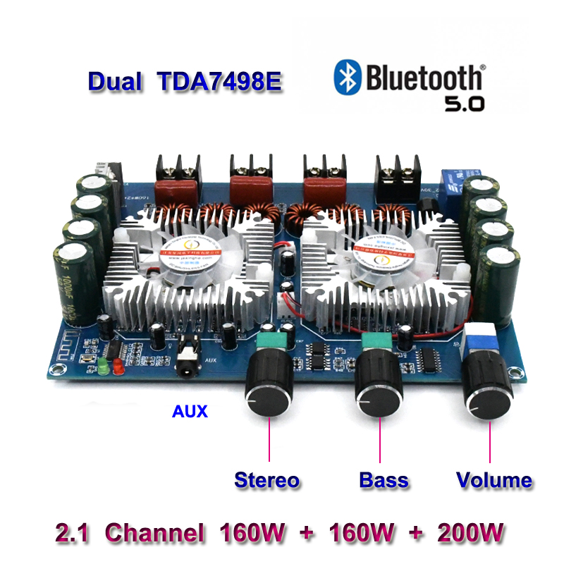 TDA7498E 2*160W+220W Bluetooth 5.0 Power Subwoofer Amplifier Board 2.1 Channel Class D Home Theater Audio Stereo Equalizer Amp