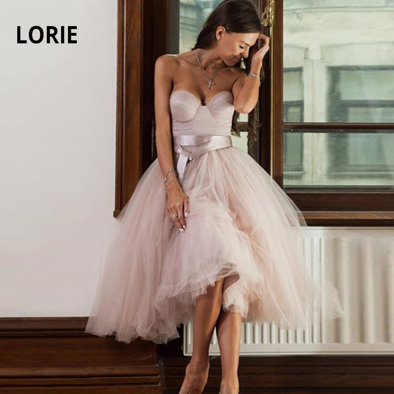LORIE Short Pink Wedding Dresses 2019 Soft Tulle Knee Length Simple Lacing Beach Boho Bridal Gown Princess Party Dress With Belt