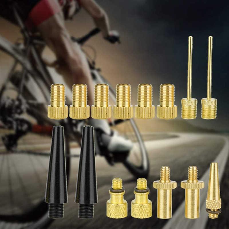 15pcs Zubehör Reifen Fahrrad Kompressor Adapter Set Durable Kupfer Luftpumpe Inflator Einfach Installieren Nadel Düse