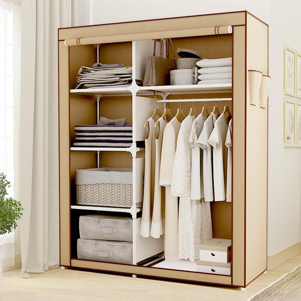 Portable Clothes Storage Closet Double Wardrobe Organizer With