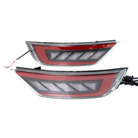 1 Pair 3 in 1 Car Reflector Lights Rear Fog Lamp Fit For Ford Focus Hatchback Classic 09 13 Tail Brake DRL Lgiht Red Lens