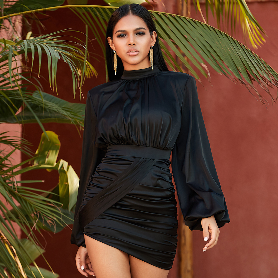Adyce 2020 New Autumn <font><b>Black</b></font> Celebrity Evening Runway Party <font><b>Dress</b></font> <font><b>Women</b></font> <font><b>Sexy</b></font> Mini Flare <font><b>Long</b></font> Sleeve <font><b>Bodycon</b></font> Club <font><b>Dresses</b></font> Vestidos image