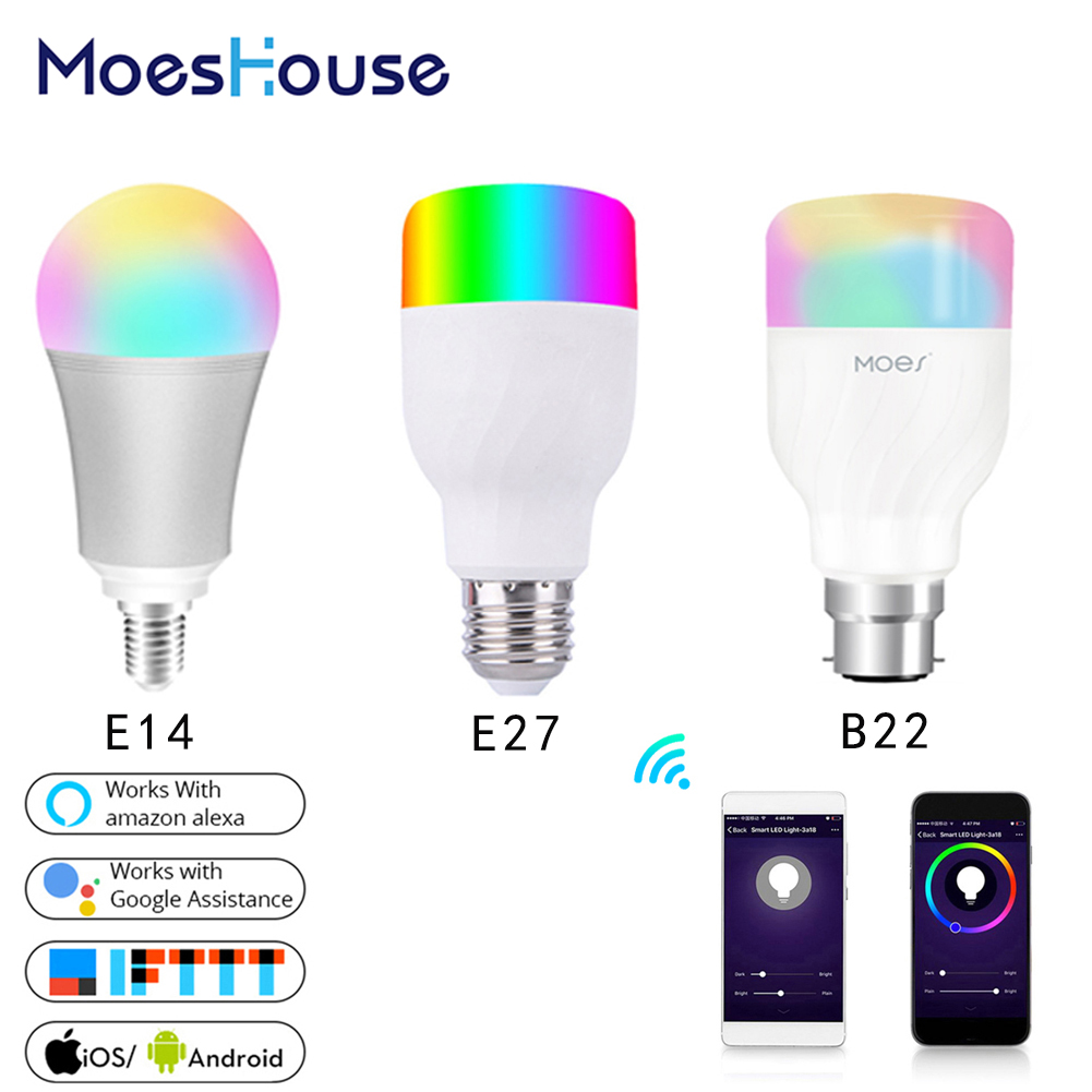 WiFi Smart Light Bulb Intelligent Colorful LED Lamp 7W RGBW APP Remote Control Work With Alexa Google For Smart Home E27 E14 B22