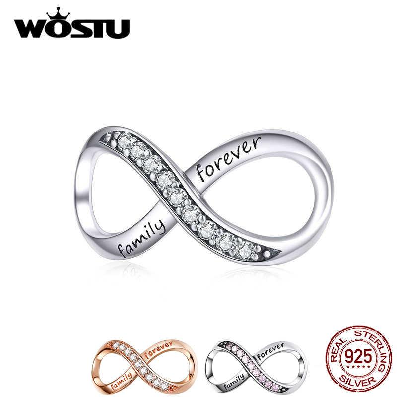 WOSTU 925 Sterling Silver Selamanya Keluarga Keabadian Cinta Pesona Bead Fit Asli Gelang Liontin Perhiasan CQC1146