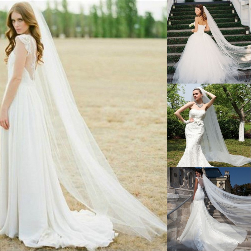 Wedding Bridal 2 Meters Long Bridal Veil With Comb Ivory White Cathedral Elegant Bride Engagement Voile Mariage Accessories Z5