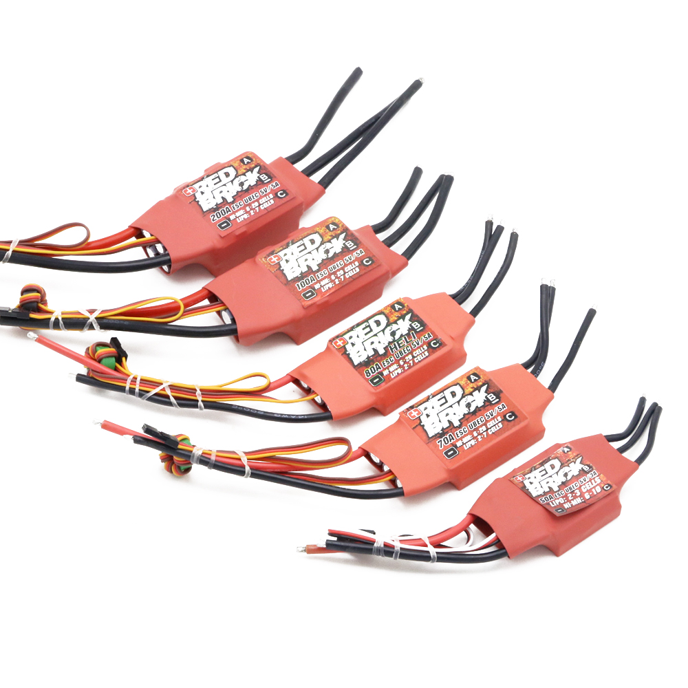 Image 5 - 1pcs Red Brick ESC 50A/70A/80A/100A/125A/200A Brushless ESC Electronic Speed Controller 5V/3A 5V/5A BEC for FPV Multicopter-in Parts & Accessories from Toys & Hobbies