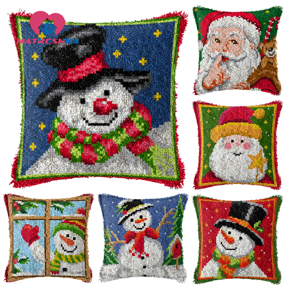 Santa Claus Latch Hook Kits DIY Throw Pillow Cover Rug Pattern Printed Pillowcase Embroidery Needlework Craft Home Decoration Gifts