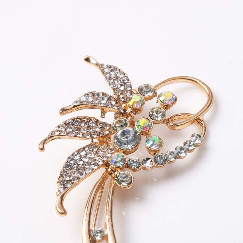 Flower Rhinestone Brooch Pin Korean Brooch Cardigan Shawl Clip Accessories for Women Suit Big Brooch Sweater Buckle Pins Jewelry in Brooches from Jewelry Accessories