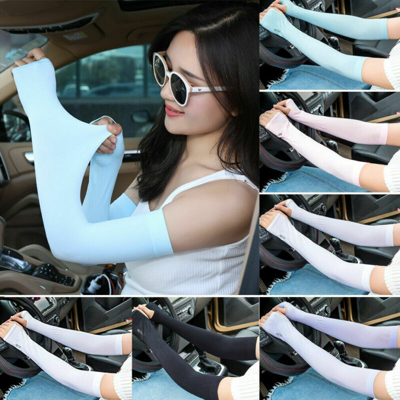 Summer Ice Silk Thumb/No Thumb 2Style Solid Color Sun Protection Arm Cooling Sleeves Gloves Golf Bike Cycling Sport Arm Cover