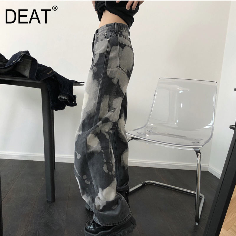 DEAT 2020 New Spring Fashion Women's Clothing  High Waist Printed Vintage Hip Hops Full Length Denim Pants Female Jeans WL01802M