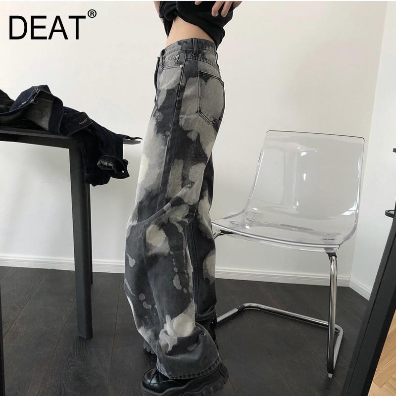 DEAT 2020 New Spring Fashion Women's Clothing  High Waist Printed Vintage Hip Hops Full Length Denim Pants Female Jeans WL01802M