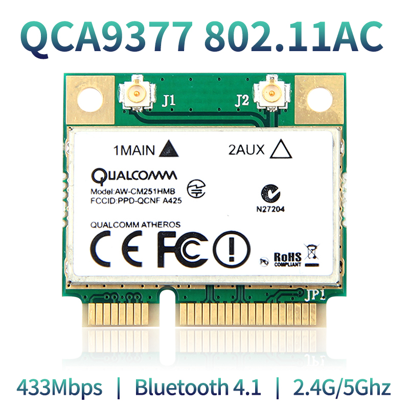 Dual Band 433Mbps Atheros QCA9377 WI-FI + Bluetooth 4.1 Wlan 802.11 Ac 2.4G/5Ghz Mini PCI-E Wireless Network Card AW-CM251HMB
