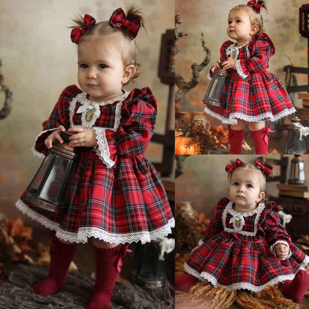Kids Baby Girls Christmas Clothes Long Sleeve Red Plaids Princess Tutu Skirts Xmas Playwear