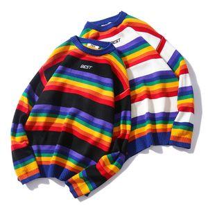 Image 2 - Hommes femmes chandail surdimensionné arc en ciel rayé col rond tricots couture couleur mode Style décontracté à manches longues pull