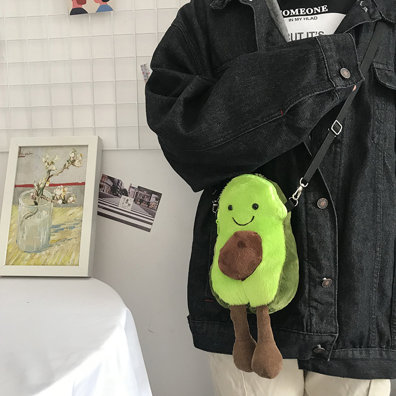 Hot Lucky Cartoon Cute Style Plush Cute Avocado Fruit Toy Child Filled Child Shoulder Bag Birthday Kawaii Gift in Stuffed Plush Plants from Toys Hobbies