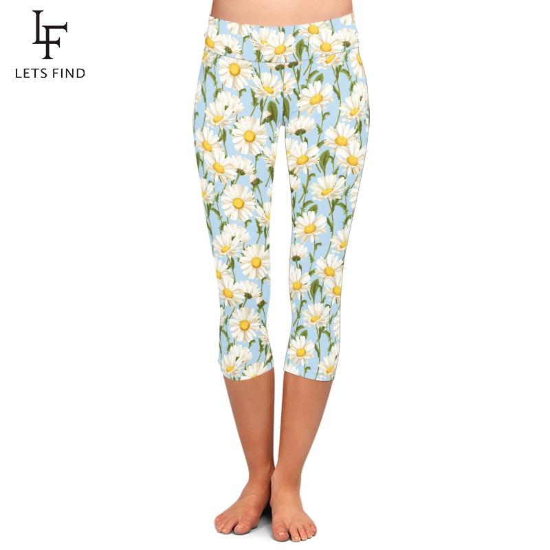 LETSFIND Summer Style Fresh Little Daisy Pattern Print Women Leggings High Waist Plus Size Slim Stretch Capri Leggings