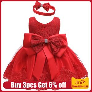LZH New Infant Red Christmas Dress Newborn Costumes Baby Girls Bow Princess Party Dresses For Baby Dress 1st Year Birthday Dress