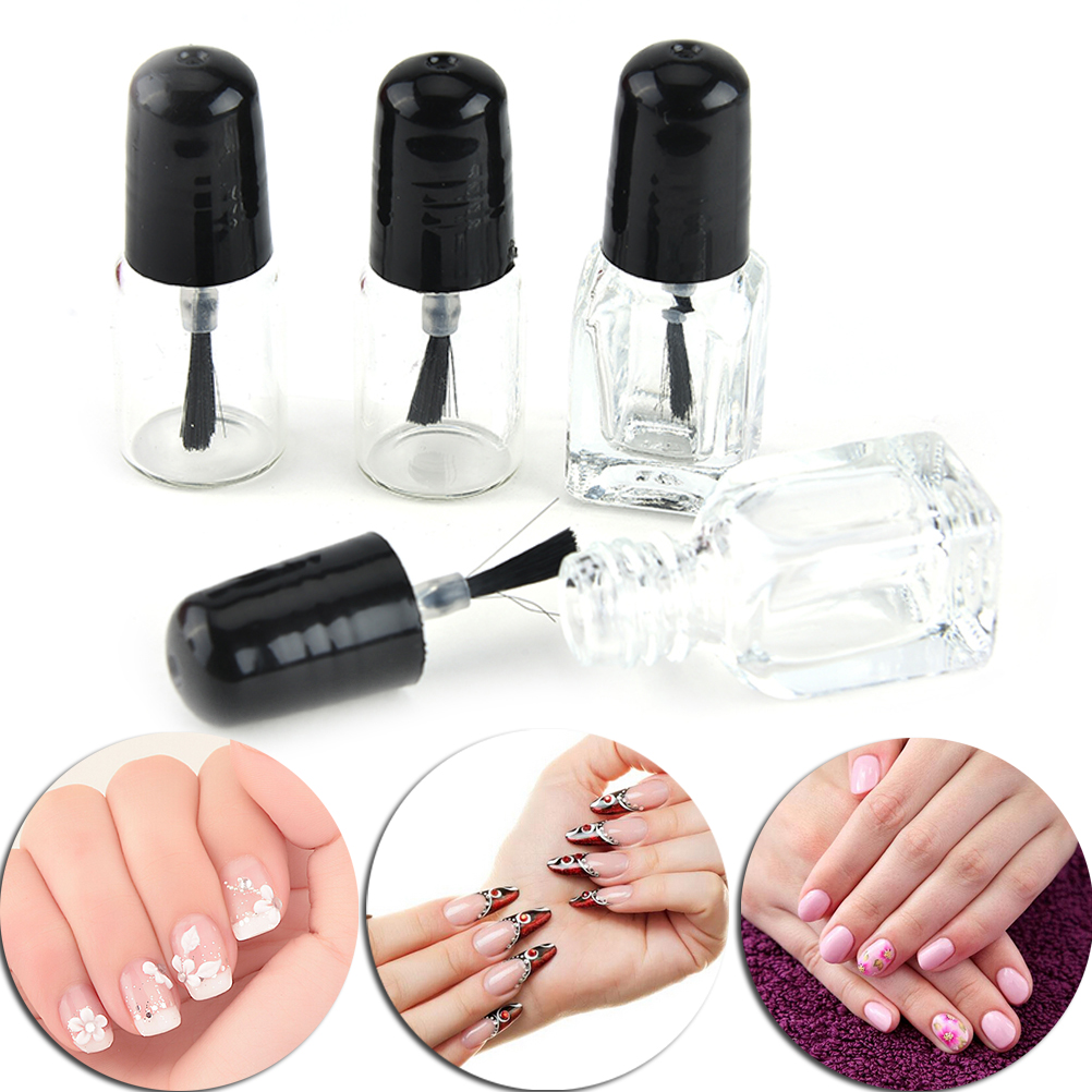 1Pcs 2ml/3ml Transparent Glass Nail Polish Empty Bottle With A Lid Brush Empty Cosmetic Containers Nail Glass Bottles With Brush