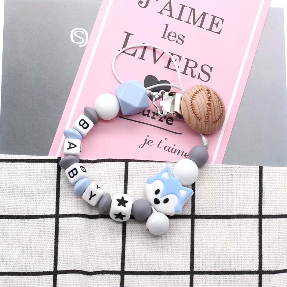 Customized Personalized Russian Name Baby Silicone Pacifier Chain Safety Silicone Beads Beech Clip Bells Dummy Clips Teeth Toys