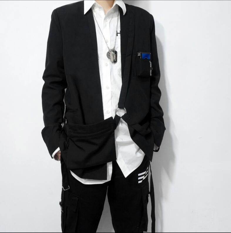 Autonomous Black Functional Fan Pack Suit Men And Women Bag Loose Eldest Brother Wide West Coat.